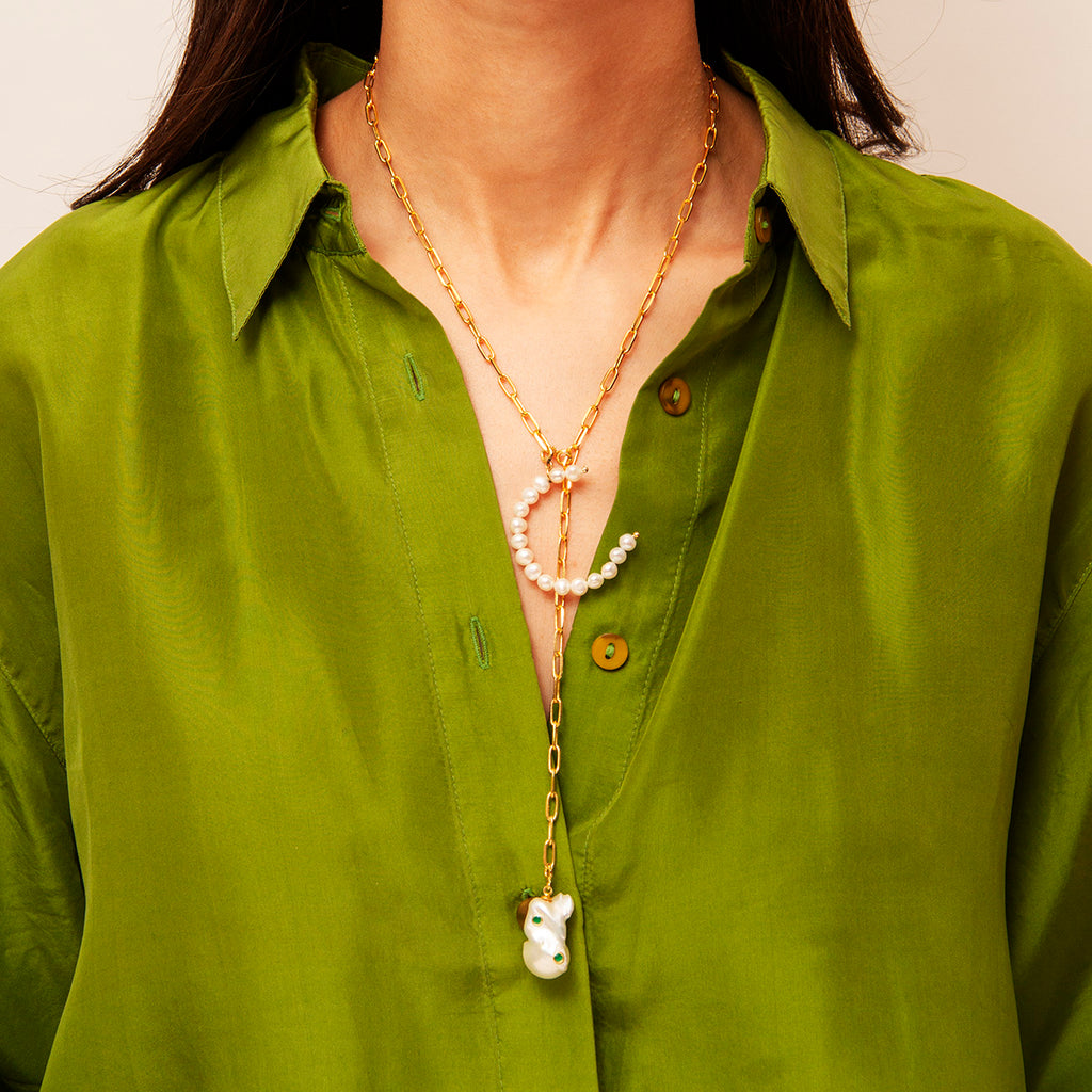 Gold Plated Necklace with Pearl Letter & Baroque Pearl Pendant