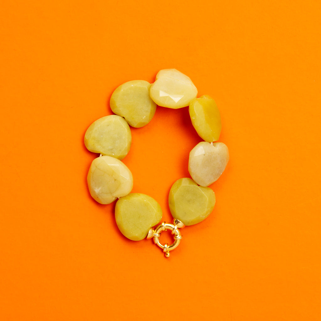 Heart Shaped Gem Stone Bracelet