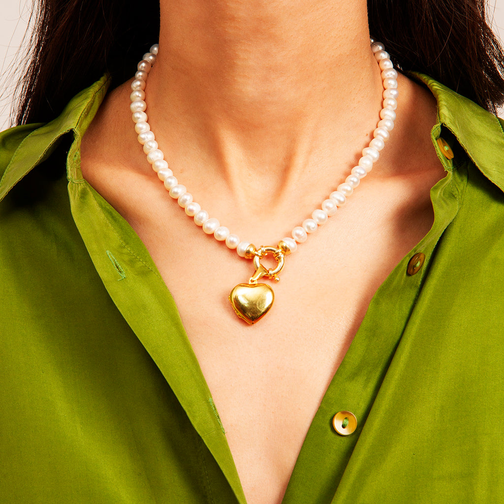 Ivy Pearl Necklace with Heart Charm