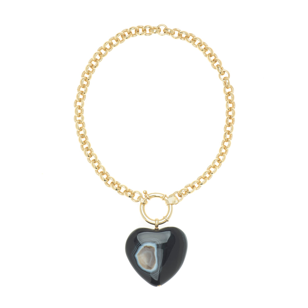 Britney Onyx Heart Necklace