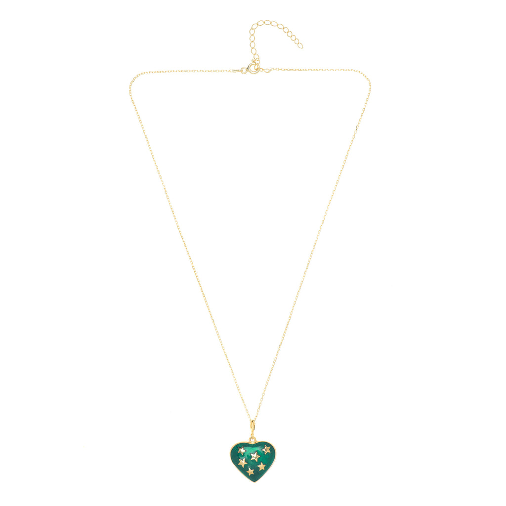 Green Stardust Heart Necklace