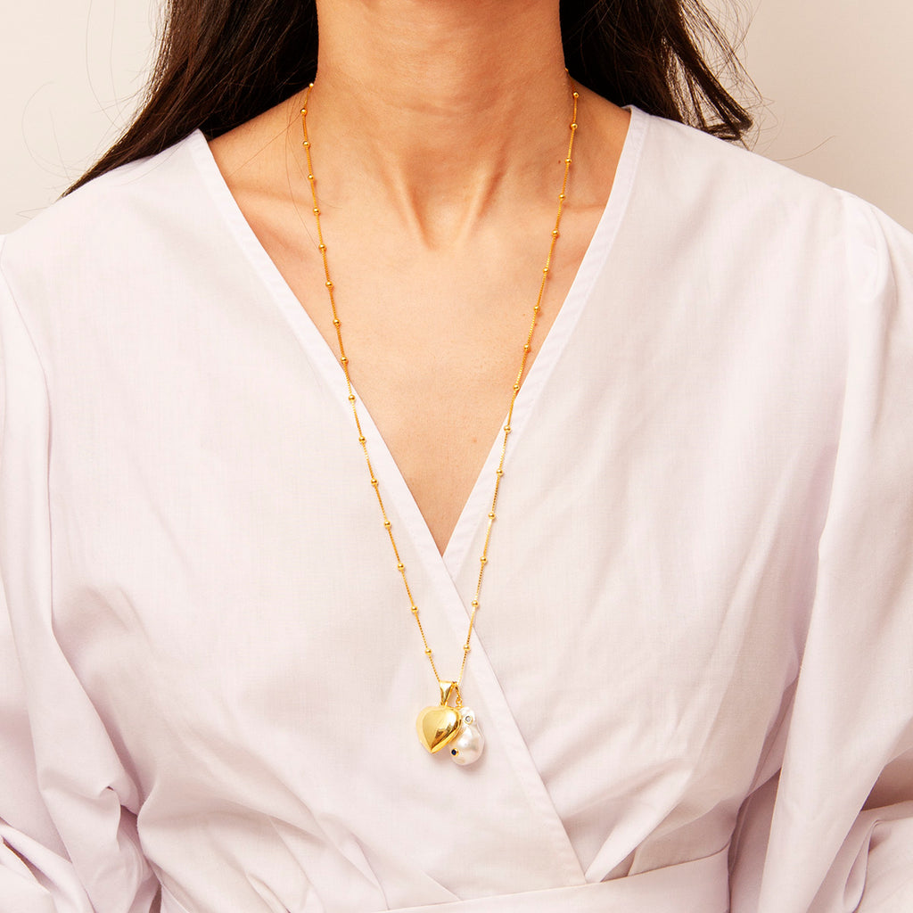 Gold Plated Heart Charm, Baroque Pearl Pendant and Chain