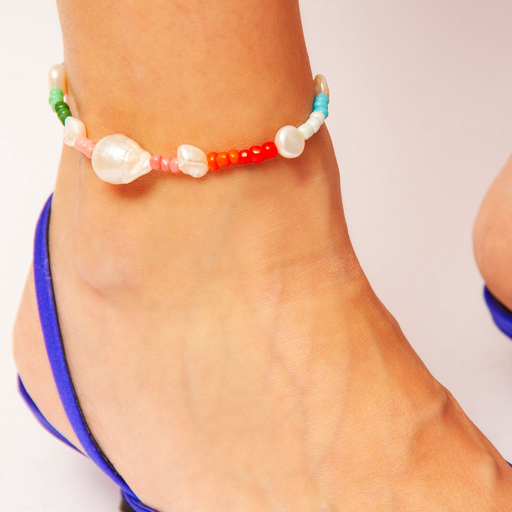 Marie Pearl and Bead Anklet