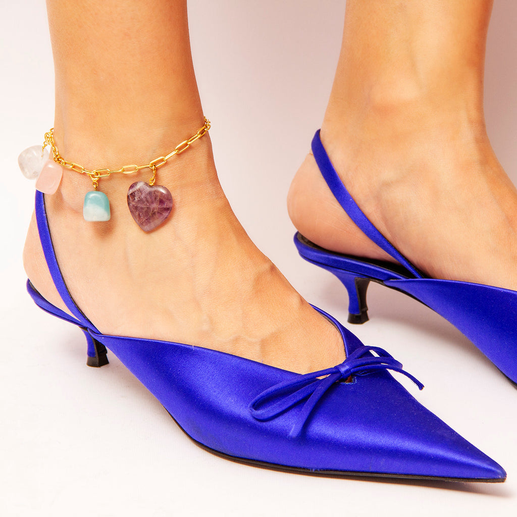 Stone-charm Gold-plated Chain Anklet