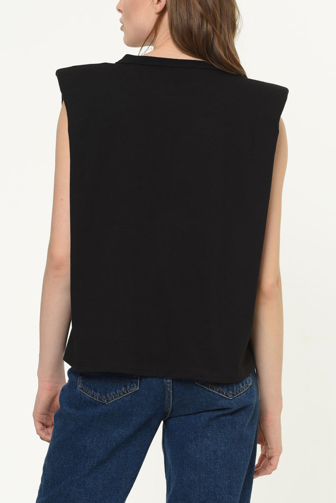 Feliz Padded Shoulder Black T-shirt