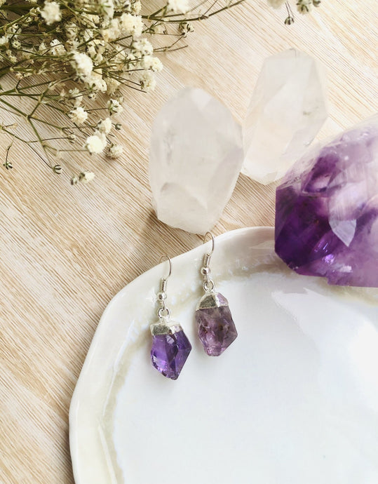 Amethyst Point Earrings - Sentient Creations