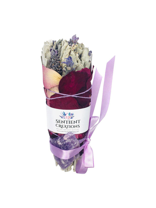 Peace - Large Lavender & Sage Smudge Stick Bouquet with Raw Amethyst - Sentient Creations
