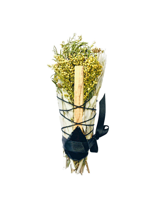 Protection - Black Obsidian, Rosemary, Palo Santo & Sage Smudge Stick Bouquet - Sentient Creations