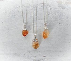 Raw Citrine Sterling Silver Necklace - Sentient Creations