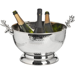 Nickel Wine Cooler With Stag Handles 36cm