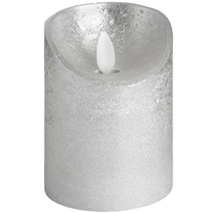 Luxe Collection 3 x 4 Silver Flickering Flame LED Wax Candle