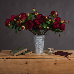 Deep Red Wedding Peony Rose Spray