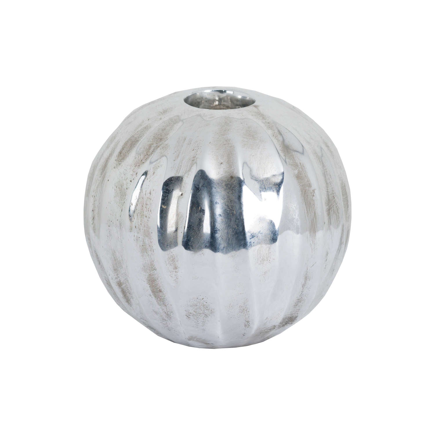 Large Spherical Detailed Metallic Ceramic Tealight Holder