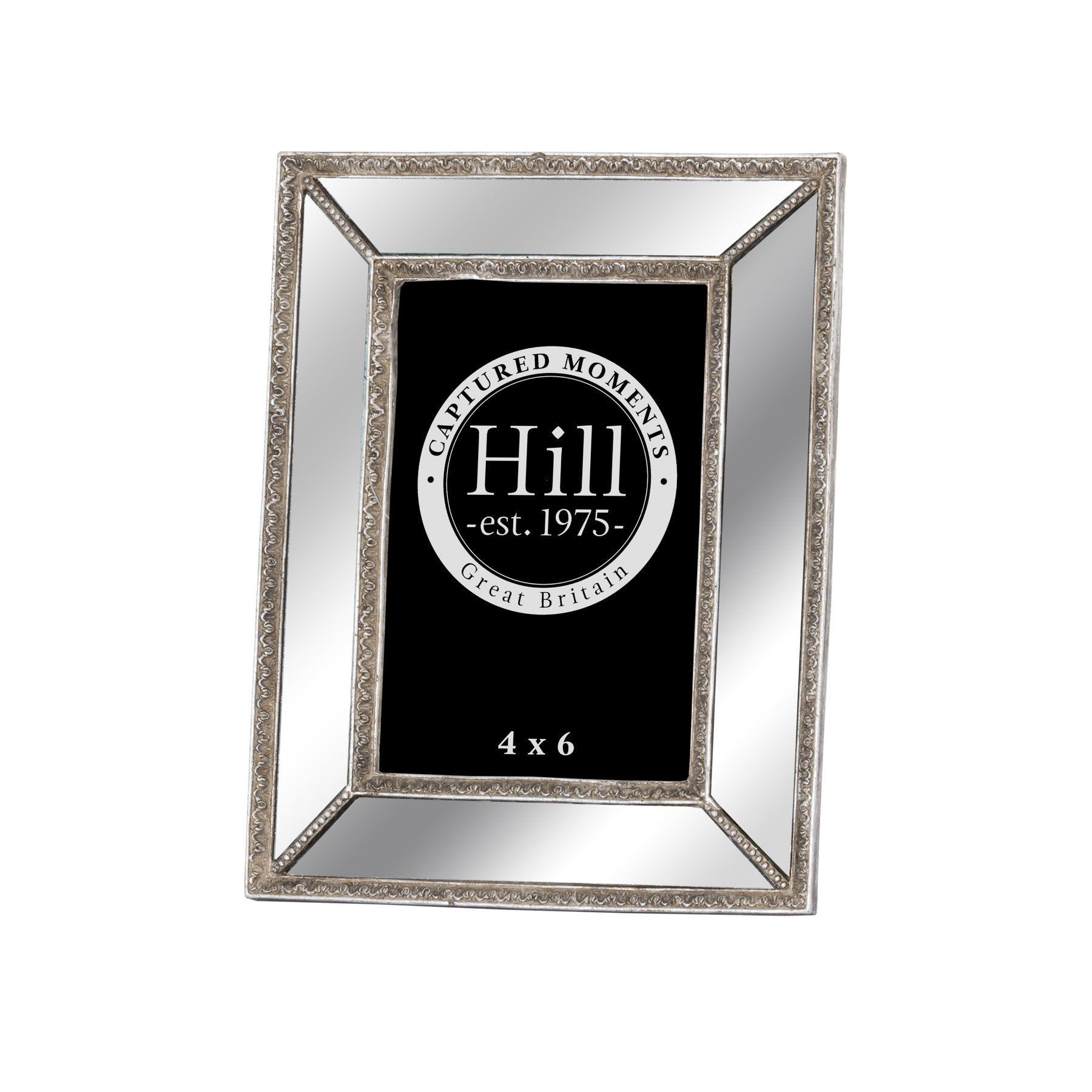 Mirrored Bevelled Photo Frame In Antique Silver With Detailed Edge 4X6