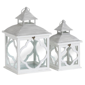 Set Of 2 Wooden Lanterns With Marrakesh Pattern