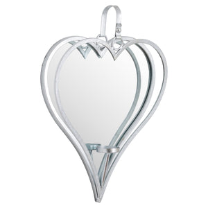 Large Silver Mirrored Heart Candle Holder