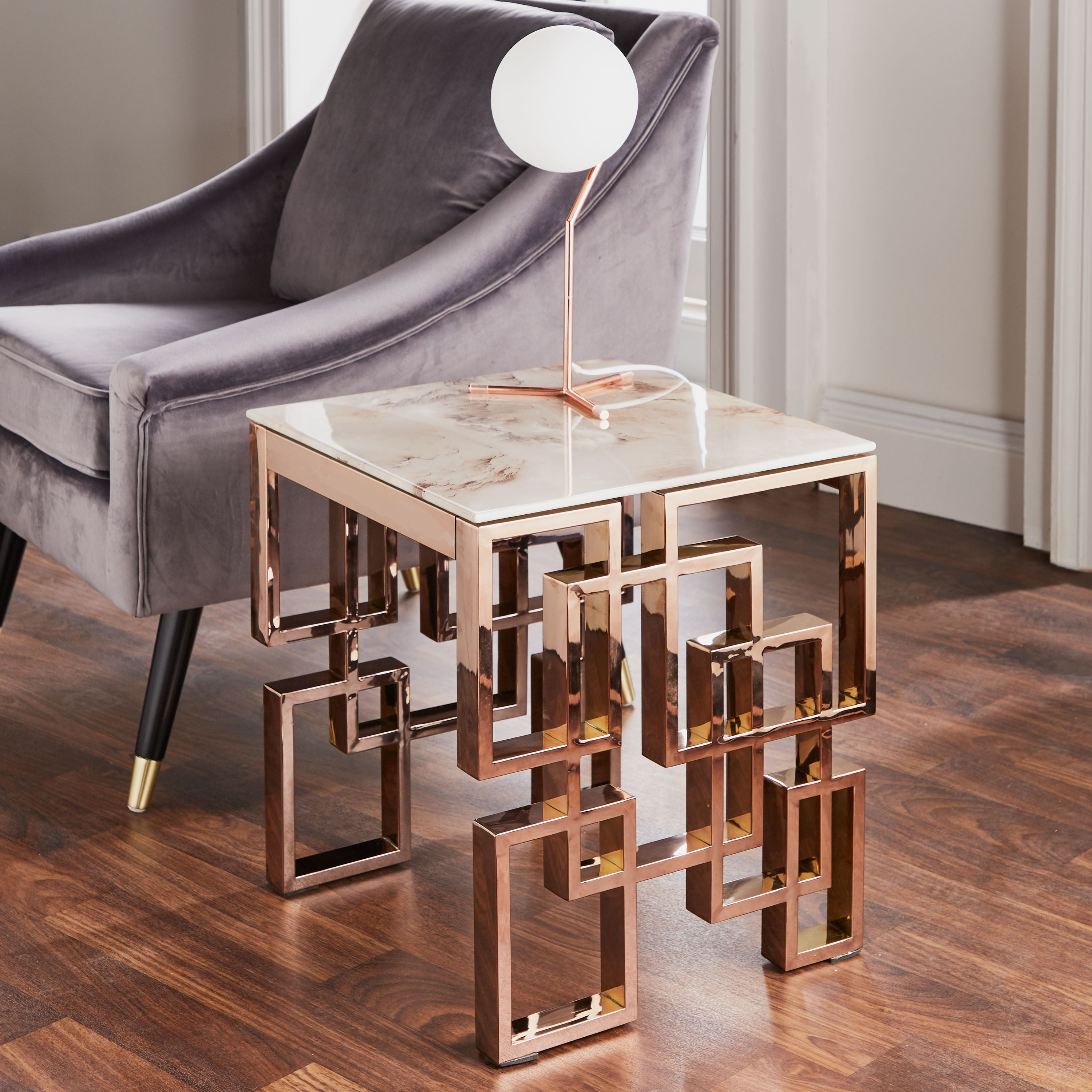 Marble Glass Rose Gold Side Table Ebony Home