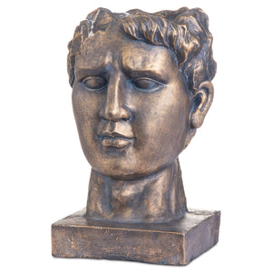 Antique Bronze Roman Head Planter Indoor Outdoor