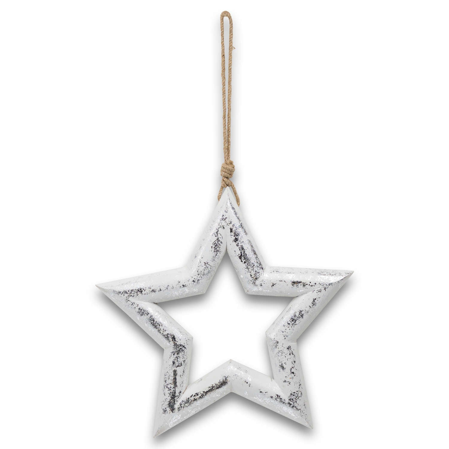 Silver Wooden Star Hanging Decoration