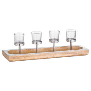 Hardwood Display Tray With Four Glass Tea Light Holders