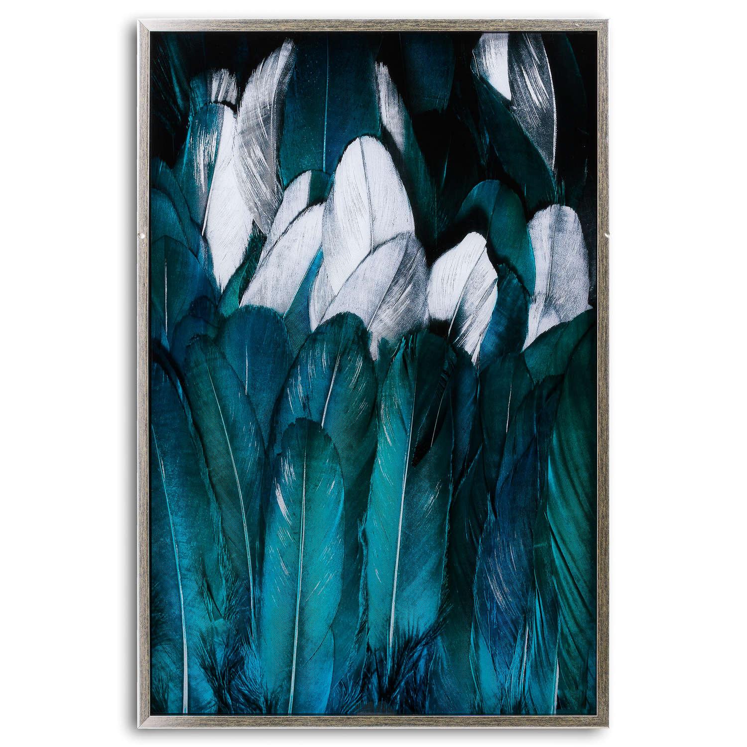 Teal And Silver Feather Glass Image In Silver Frame