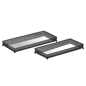 Set Of Two Rectangular Aztec Black Mirrored Trays