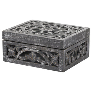 Lustro Carved Antique Metallic Wooden Box