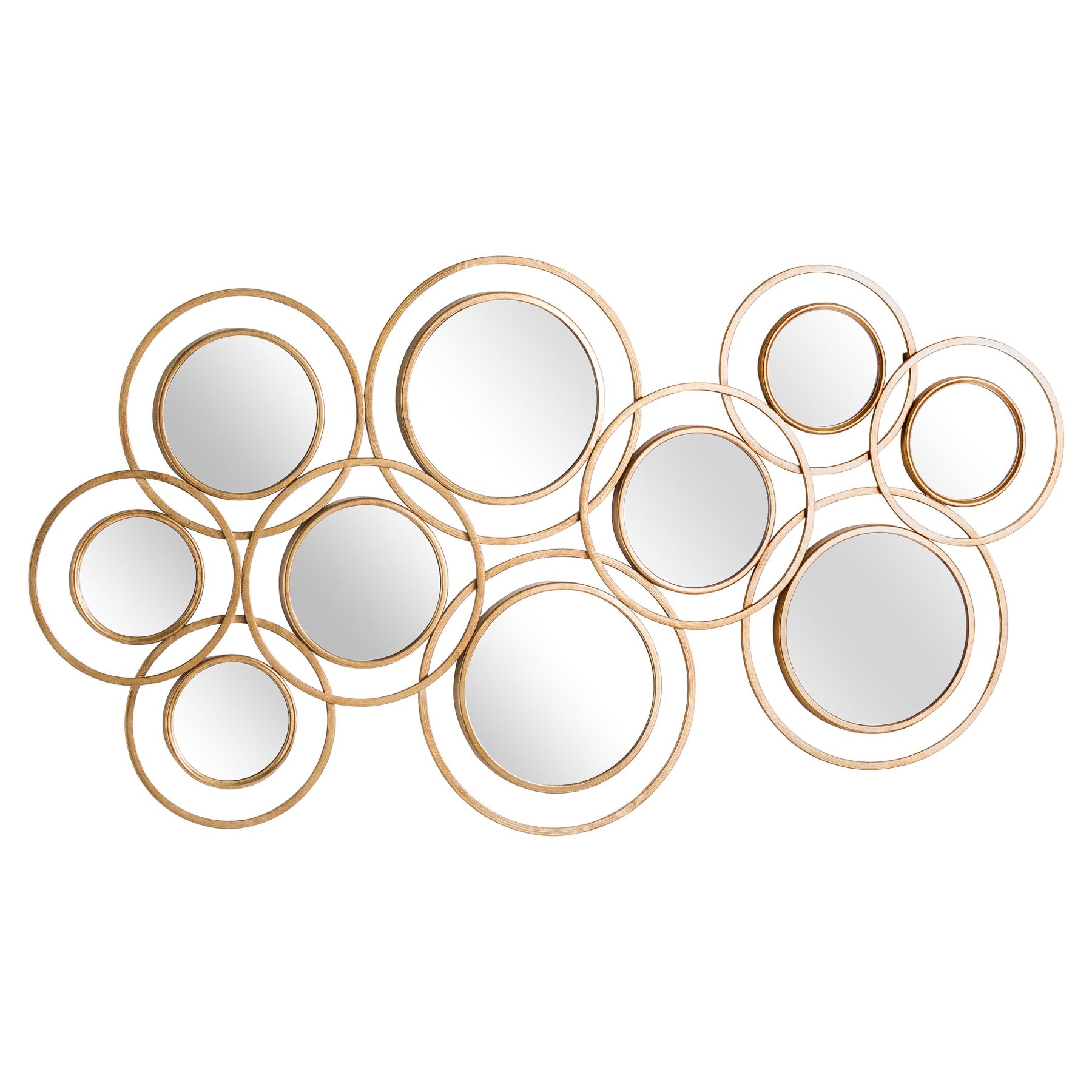 Abstract Gold Circular Wall Mirror