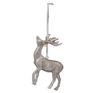 Hanging Silver Stag Decoration