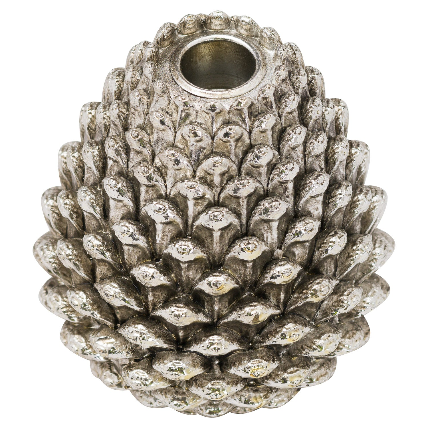 Large Silver Pinecone Candl Holder