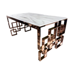 Load image into Gallery viewer, Marble Glass Rose Gold Dining Table
