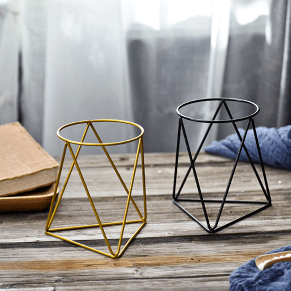 Modern Industrial Geometric Plant Pot & Holder Set