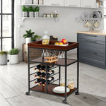 Load image into Gallery viewer, 3 Tier Bar Serving Cart with Wine Rack