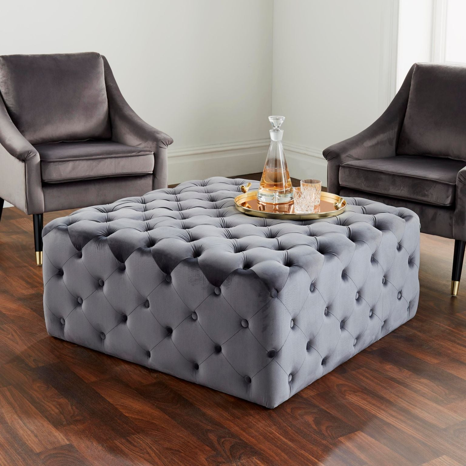 Button Grey Cocktail Ottoman
