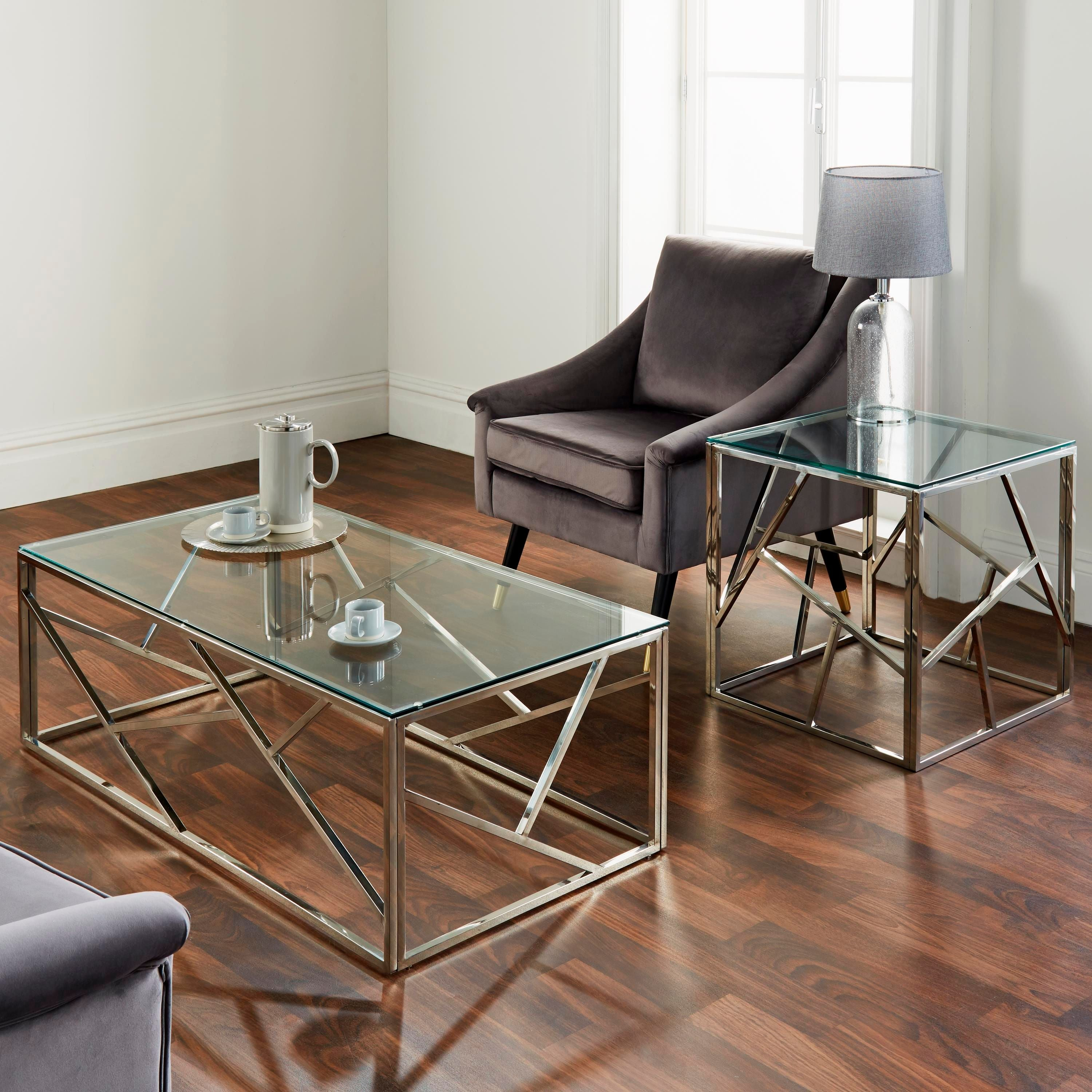 Geometric Gold Plated & Silver Coffee Table