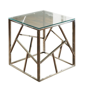 Geometric Silver Side Table