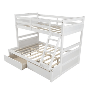 White Twin over Full Bunk Bed with Storage