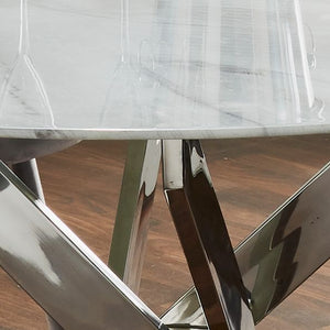 Silver Plated Marble Glass Rectangle &  Round Dining Table