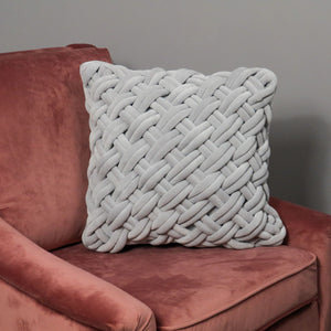 Grey Handknotted Velvet Cushion Cover
