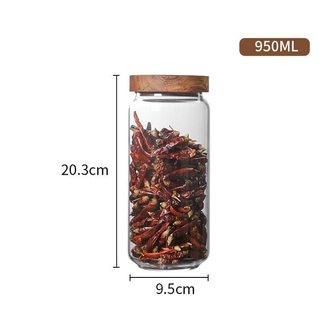 Seluna Airtight Glass Canister With Wooden Lid