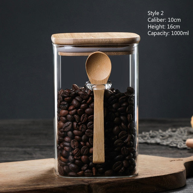 Glass Kitchen Storage Jars with Bamboo Lid and Spoon