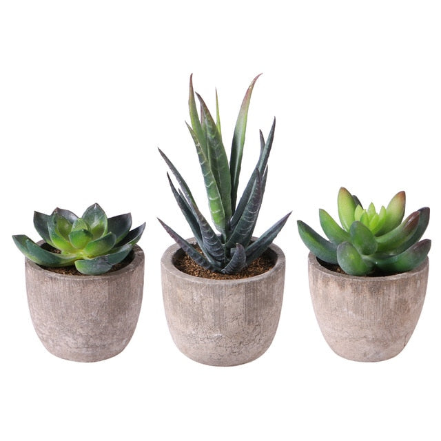 Mini Artificial Succulent Plants with Pots