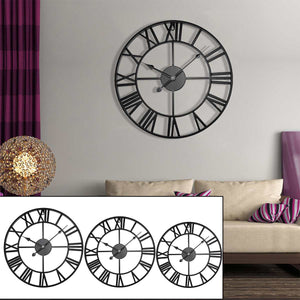 Retro Roman Black Iron Wall Clock