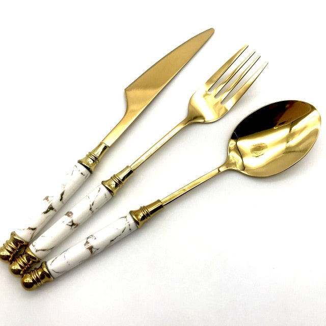 Regal Gold and Marble Cutlery Set
