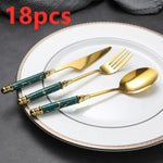 Load image into Gallery viewer, Regal Gold and Marble Cutlery Set