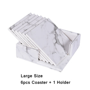 'Maisie' Marble PU Leather Coaster Sets