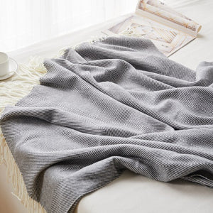 Classic Herringbone Throw Blanket