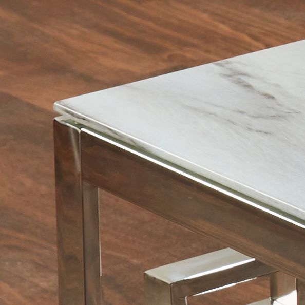 Marble Glass Silver Dining Table