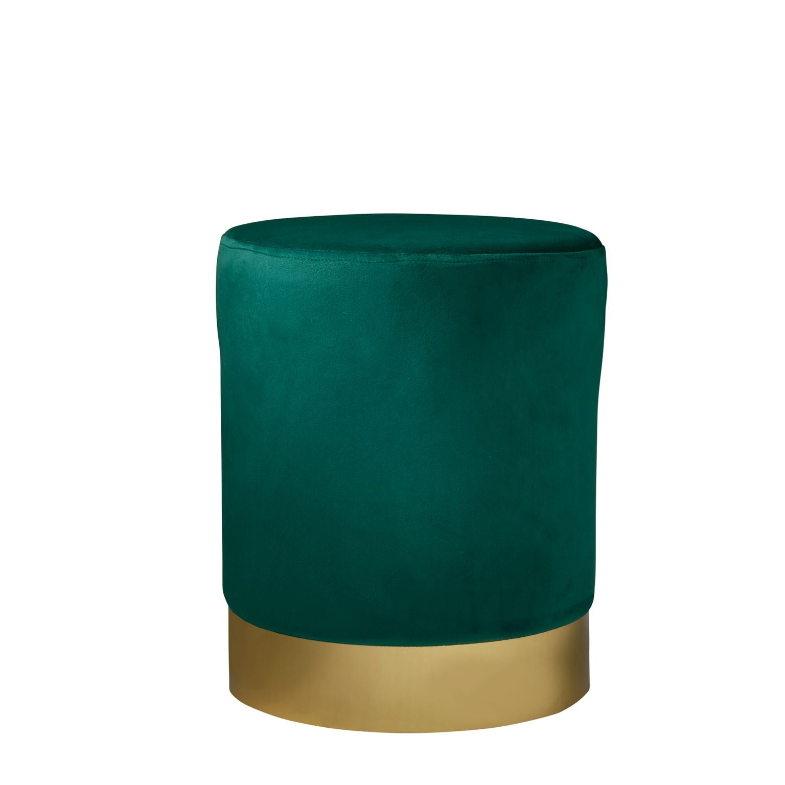 Gold Finish Round Velvet Stool