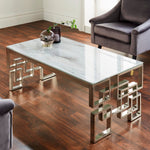 Load image into Gallery viewer, Marble Glass Silver Dining Table